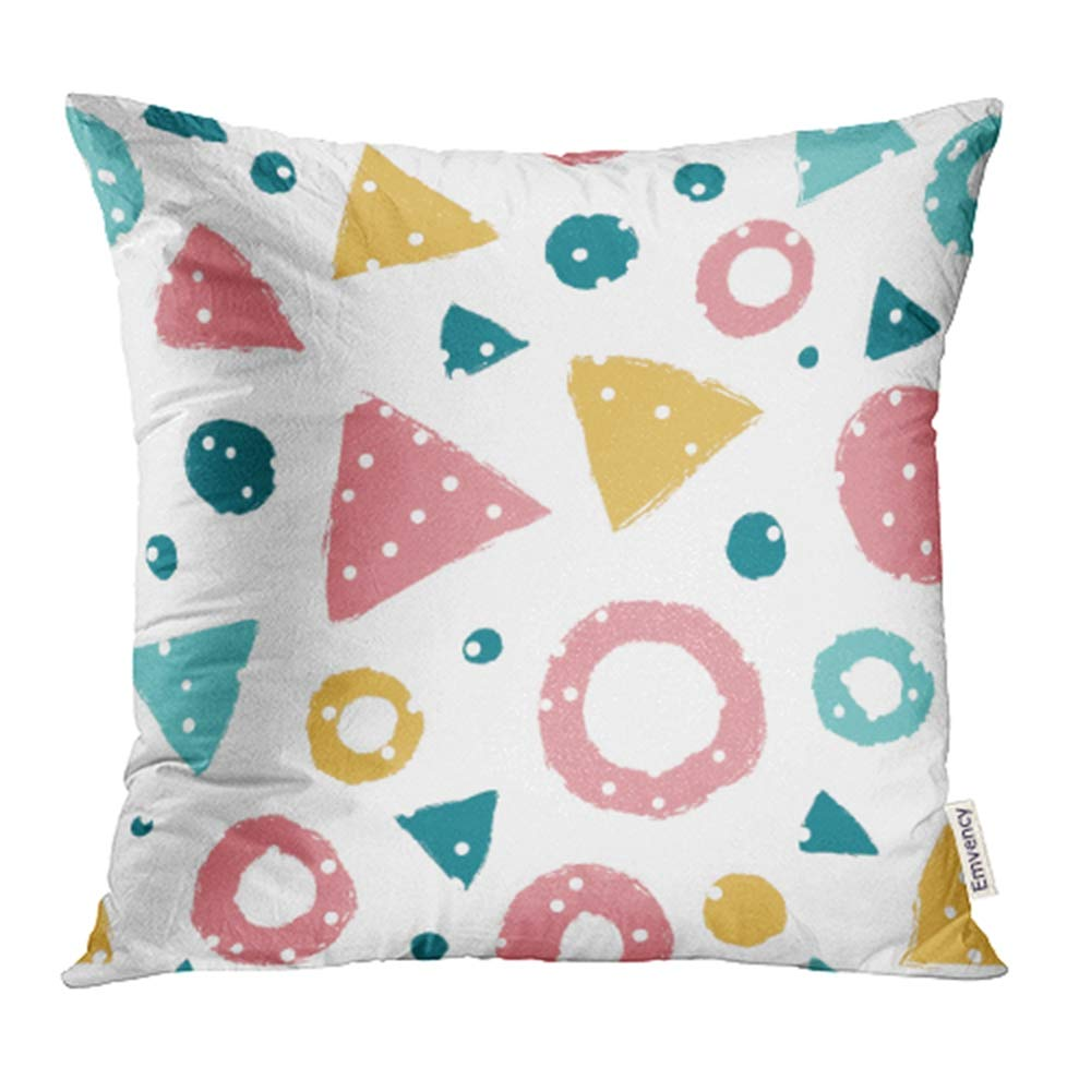 YWOTA Colorful Kid Simple with Triangles and Polka Dots Pattern Fills Red Geometry Child Pillow Cases Cushion Cover 16x16 inch