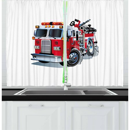 Truck Curtains 2 Panels Set, Fire Brigade Vehicle Emergency Aid For Public Firefighter Transportation Themed Lorry, Window Drapes for Living Room Bedroom, 55W X 39L Inches, Grey Red, by -