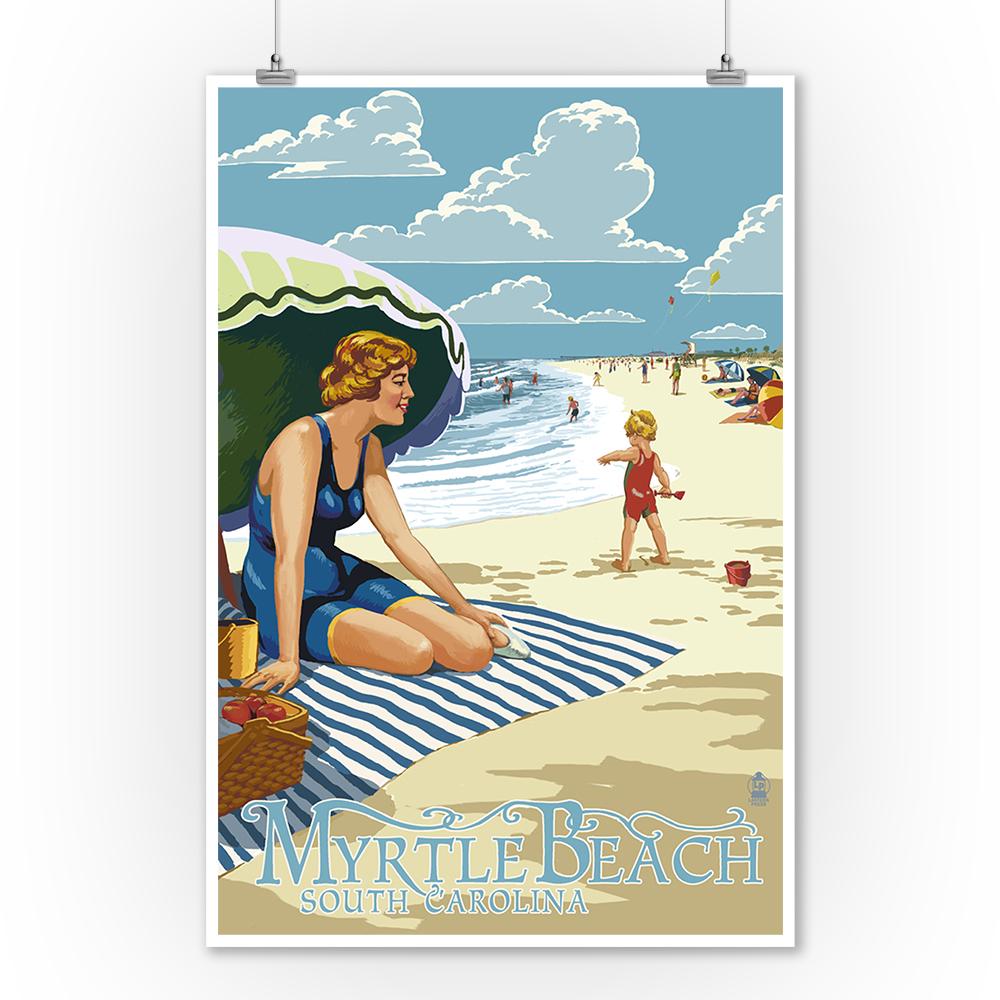 Myrtle Beach, South Carolina - Woman on Beach - Lantern Press Poster (9x12 Art Print, Wall Decor Travel Poster)