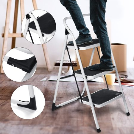Grtsunsea Foldable 3-Step Stool Ladder Tool Equipment Non Slip Safety Tread Step Ladder Platform for Household Kitchen Cleaning Indoor, Outdoor, 330LB Load Capacity, Easy Storage