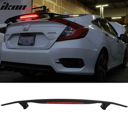 2 Post Universal Matte Black Trunk Spoiler Wing & 3RD Brake LED Light - ABS
