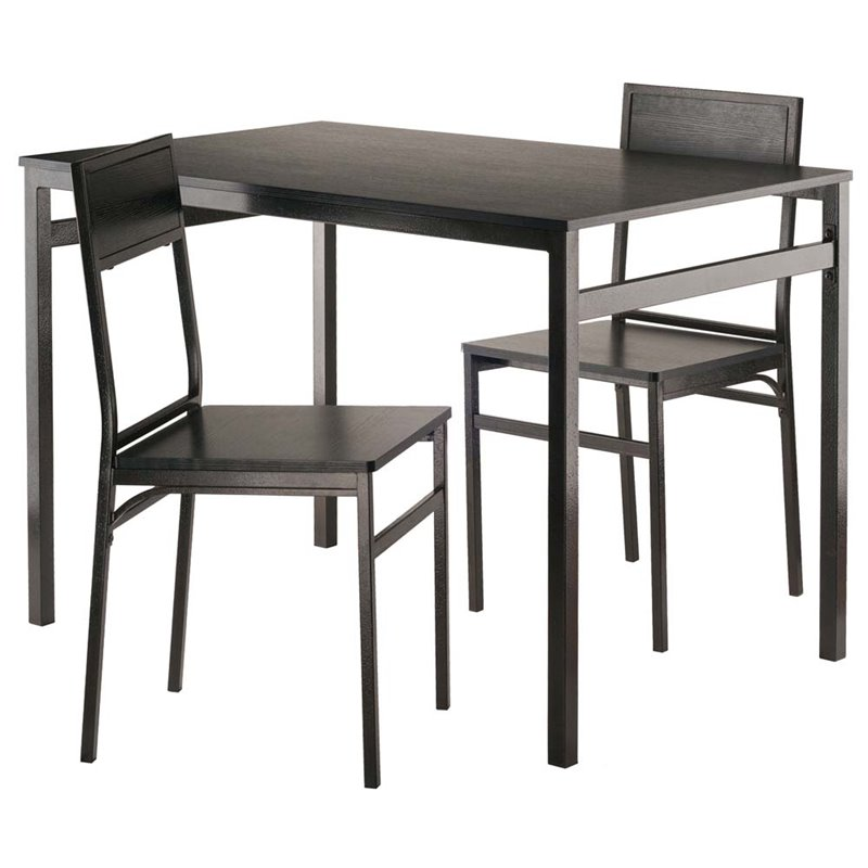 Milton 3-Piece Table with Chairs, Black