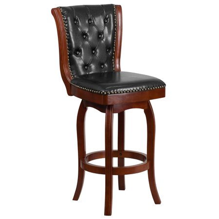 47'' High Cherry Wood Barstool with Button Tufted Back and Black Leather Swivel Seat Button Tufted Seat