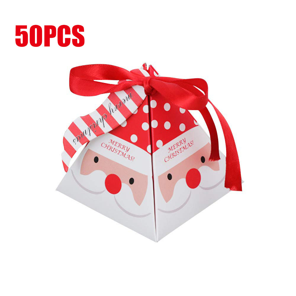 Santa Claus Gift Box Delicate Present,Chocolate Goodies Boxes,Christmas Triangle Paper Candy Gift Box,Party Dessert Cookie Packaging ,Christmas Eve Gift 12 PCS DIY Christmas Treat Boxes for Gifts