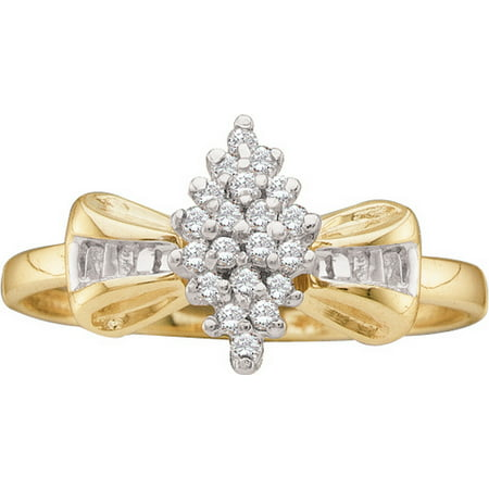 Size - 7 - Solid 10k Yellow Gold Round Baguette White Diamond Engagement Ring OR Fashion Band Prong Set Marquise Shaped Flower Ring (1/10 cttw) (Gold Band Diamond Engagement Ring)