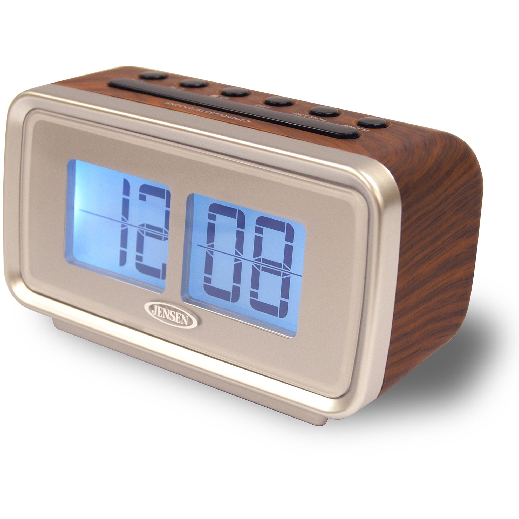 "Jensen AM/FM Dual Alarm Clock with Digital Retro ""Flip"" Display"
