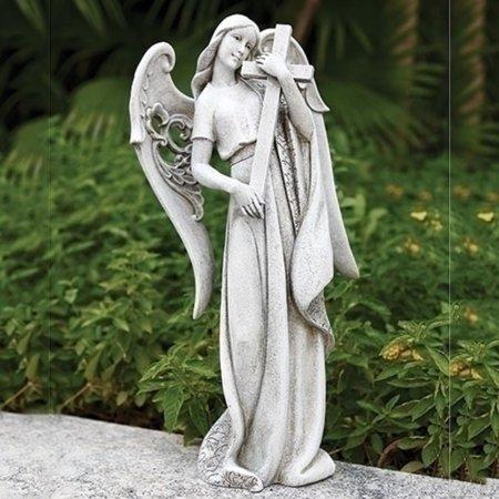 "Roman 18.5"" Gray Angel Holding a Cross in Her Hand Religious Outdoor Garden Statue"