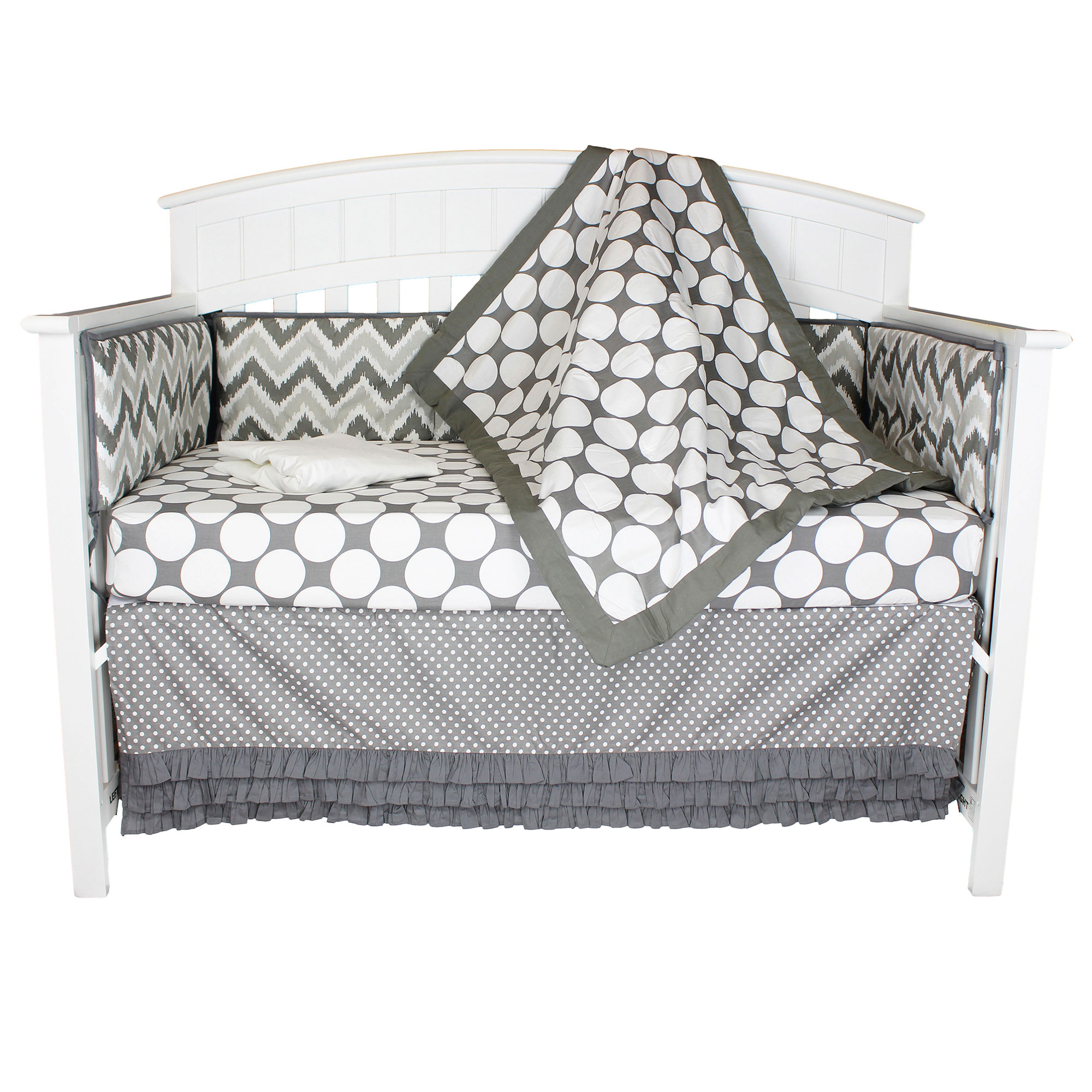 Bacati Crib Bedding Set - Grey and White Chevron and Dots - 100% Cotton 5 Piece Baby Bedding Collection