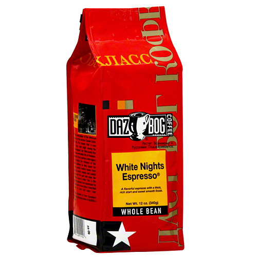 Dazbog White Nights Espresso Whole Beans, 12 oz, (Pack of 6)