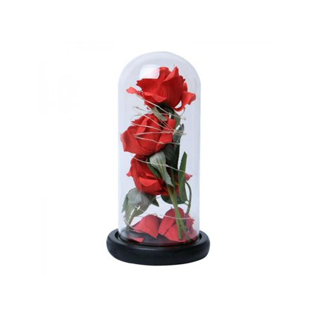 New Rise - Topumt New LED Red Rose Flowers Glass Lamp Cover Eternal Flower Fake Rose Ornaments Valentine's Day Birthday Gift