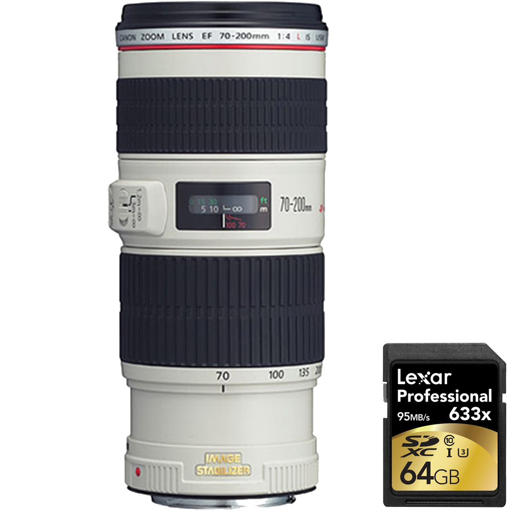 Canon EF 70-200mm f 4L IS USM (1258B002) with Case and Hood with Lexar 64GB Professional 633x SDXC Class 10 UHS-I U3... by Canon