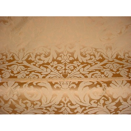 27H3 - Shimmering Satiney Brass / Gold Floral Damask Designer Upholstery Drapery Fabric - By the Yard (Gold Damask Fabric)