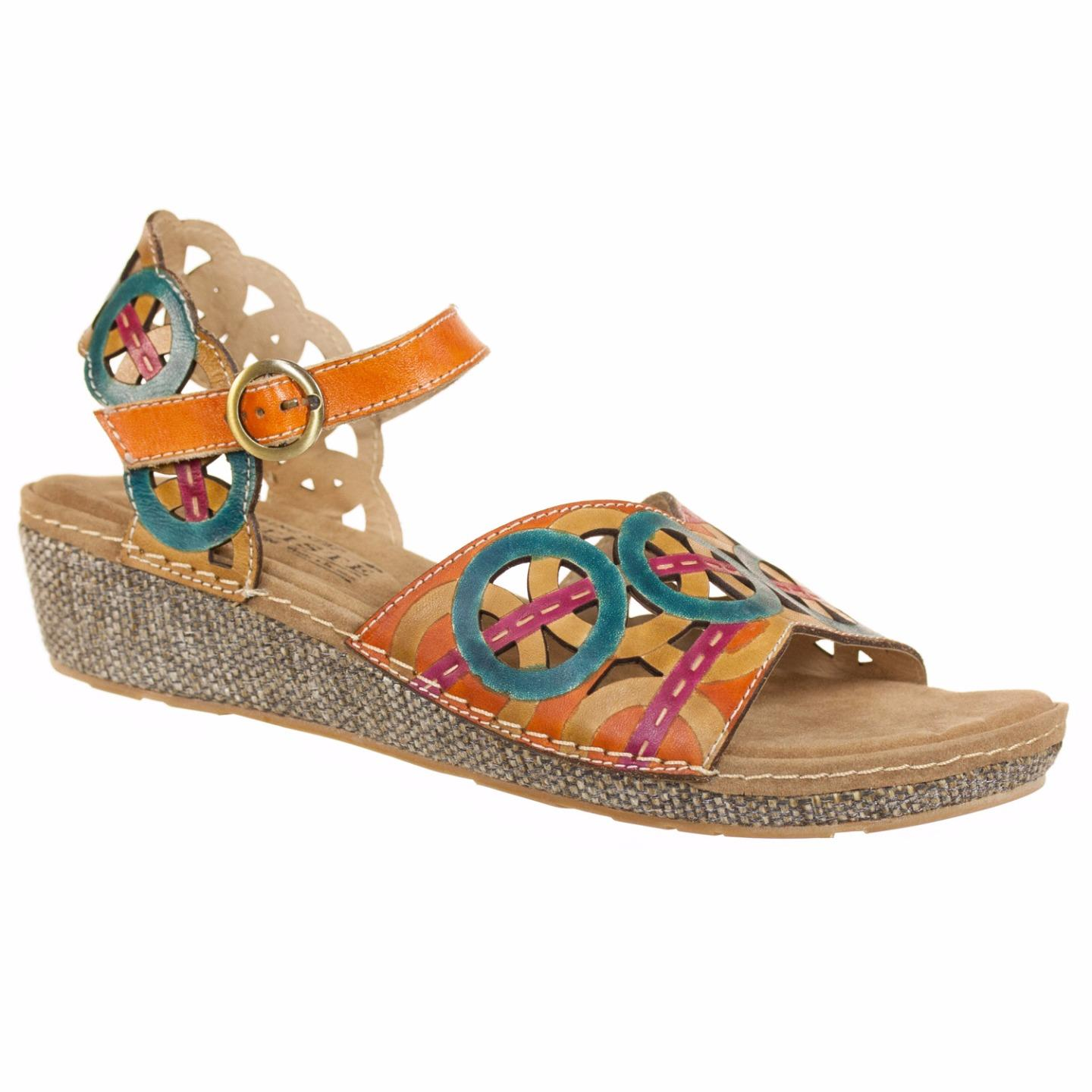 L'Artiste Collection By Spring Step Women's Athens Sandal Teal Camel EU 37 US 7 by Spring Step