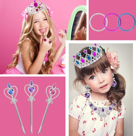 Easy To Make Costumes For Kids (JUMPER 107 PCS Princess Pretend Jewelry Toy, Jewelry Dress Up Play Costume Set for Girls Includes Necklaces Wands Rings Earrings and Bracelets for Birthday Party)