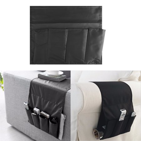 Sofa Arm Rest Storage Bag, Armrest Organizer Couch Chair Durable Non-woven and Super Soft Pongee Fabric Organiser for TV Remote Control Magazine Book Newspaper Phone Holder Storage Bag