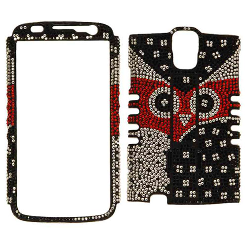 Rocker Series Snap-On Protector Case for Samsung I9252/ Galaxy S4 Active (Full Diamond Crystal Black and White Owl)