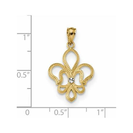 14k or jaune w / w Rhodium / Rhodium taille diamant satin Fleur de Lis (15.7x25.6mm) Pendentif / Breloque - image 1 de 2