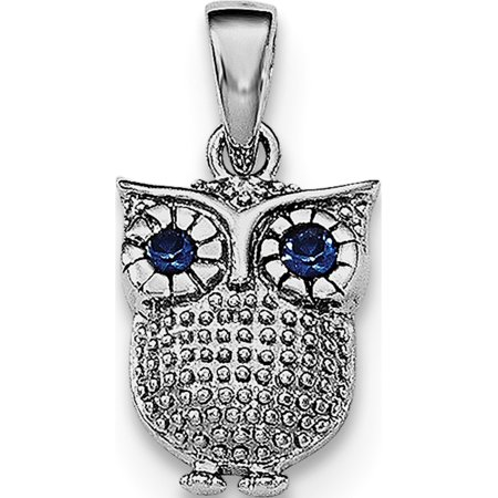 925 Sterling Silver Rhodium-plated w/Blue Synthetic Sapphire Owl Pendant / Charm - image 2 de 2