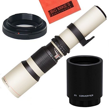 High-Power 500mm/1000mm f/8 Manual Telephoto Lens for Nikon D90, D3000, D3100, D3200, D3300, D5000, D5100, D5200,