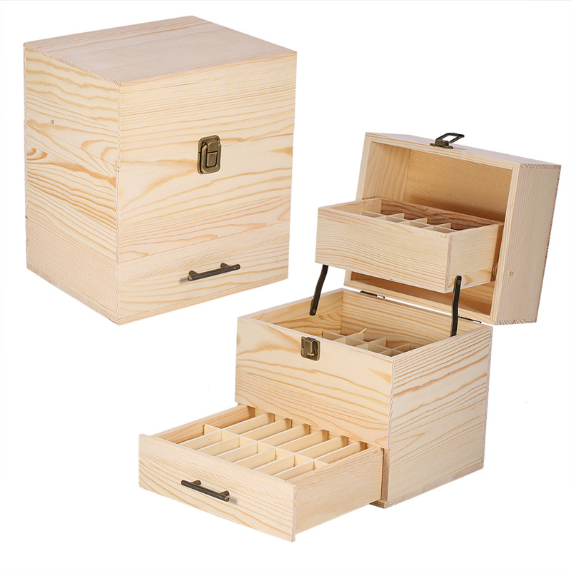 Three-layer Wooden Large Essential Oil Box Multi-Tray Organizer Storage Box