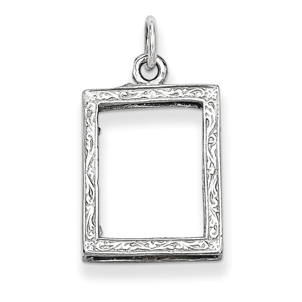 14k White Gold Picture Frame Pendant