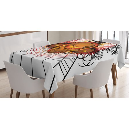 Halloween Decorations Tablecloth, Angry Skull Face on Bonfire Spirits of Other World Concept Bats Spider Web, Rectangular Table Cover for Dining Room Kitchen, 60 X 84 Inches, Multi, by Ambesonne
