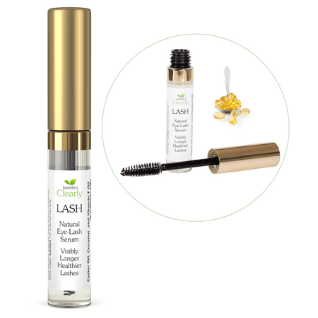 Isabella's Clearly LASH - Best Eyelash Growth Serum for Longer Fuller Lashes and Eyebrows. 100% Natural with Castor, Coconut and Vitamin (Castor Oil And Vitamin E For Eyelashes)