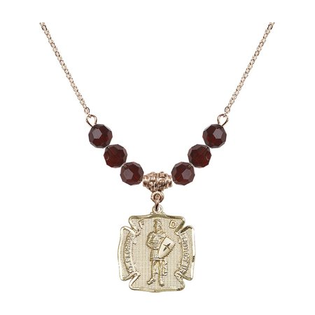 18-Inch Hamilton Gold Plated Necklace with 6mm Red January Birth Month Stone Beads and Saint Florian Charm ()