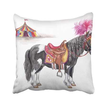 WOPOP Blue Animal Circus Ponies And Tent Watercolor White Beautiful Carnival Carousel Cartoon Pillowcase Throw Pillow Cover 18x18 inches