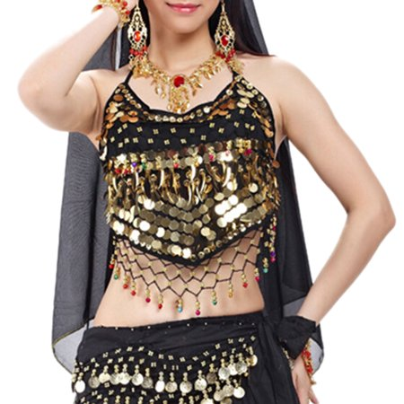 Belly Dance Crop (BellyLady Tribal Belly Dance Halter Banadge Bra Top With Pad-Black )