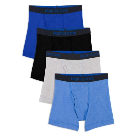 Fruit of the Loom Breathable Cotton Mesh Boxer Briefs, 4 Pack (Toddler