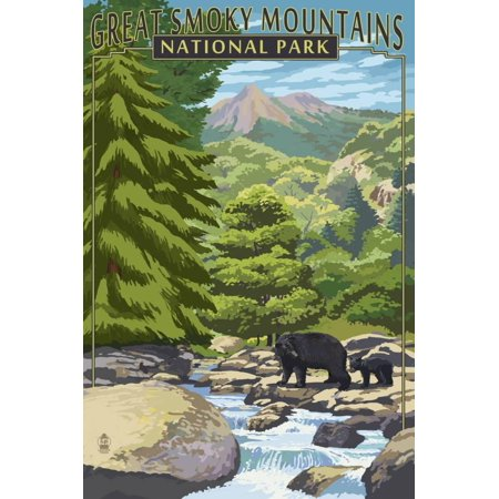 Leconte Creek and Bear Family - Great Smoky Mountains National Park, TN Travel Advertisement Print Wall Art By Lantern
