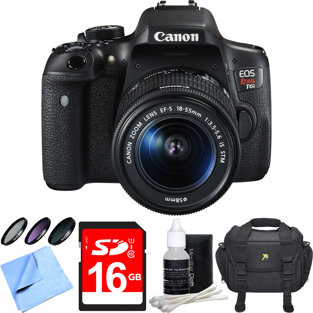 Canon EOS Rebel T6i Digital SLR Camera w/ EF-S 18-55mm IS STM Lens Bundle includes Camera, Lens, 58mm Filter Kit, Compact Gadget Bag, 16GB SDHC Memory Card, Lens Cleaning Kit and Beach Camera Cloth