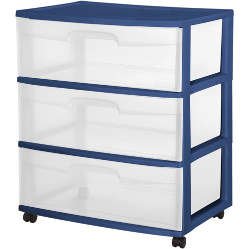 Sterilite 3-Drawer Wide Cart