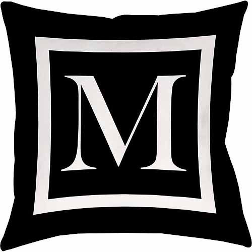 Thumbprintz Classic Block Monogram Decorative Pillow, Black