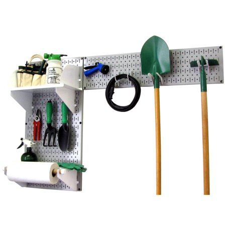 Wall Control Pegboard Garden Tool Board Organizer with Gray Pegboard and White Accessories
