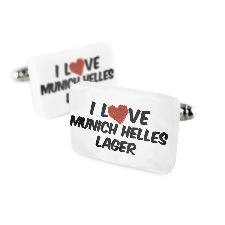 Cufflinks I Love Munich Helles Lager BeerPorcelain Ceramic NEONBLOND