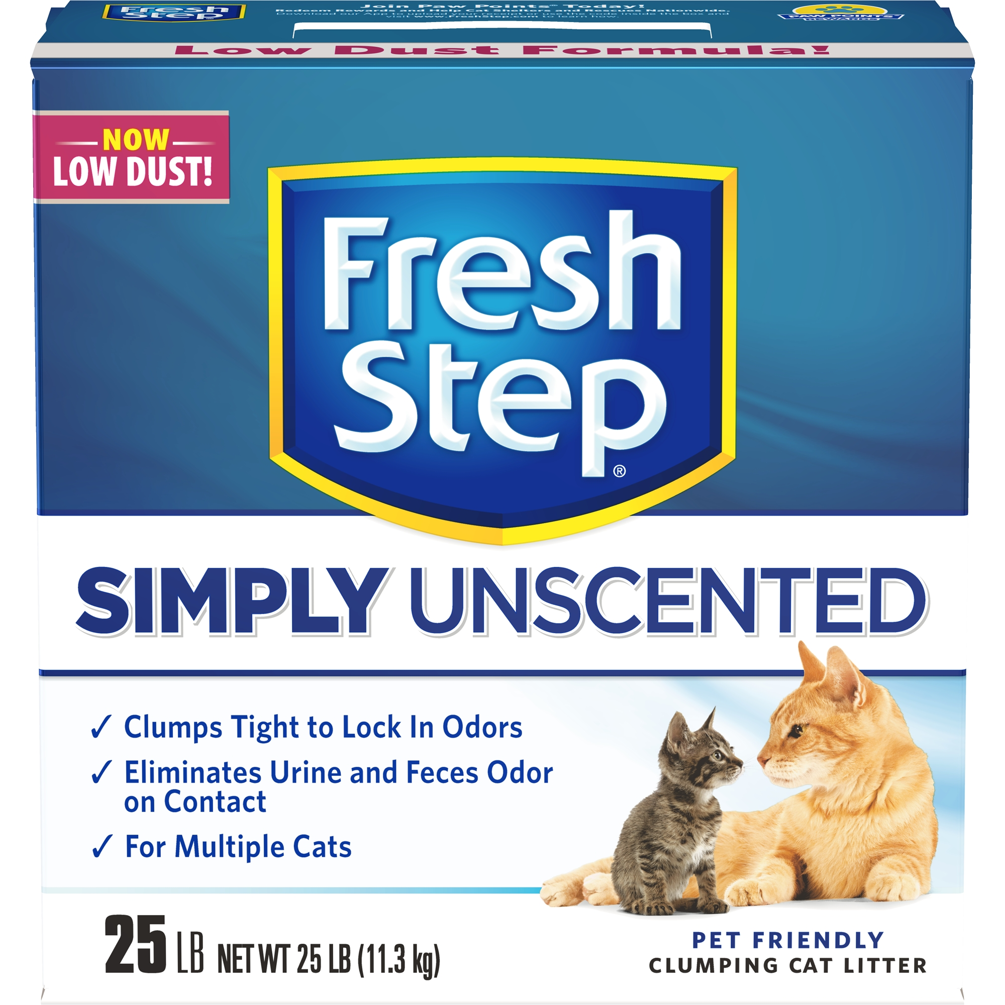 Fresh Step Multi-Cat, Clumping Cat Litter, Unscented, 25 lbs