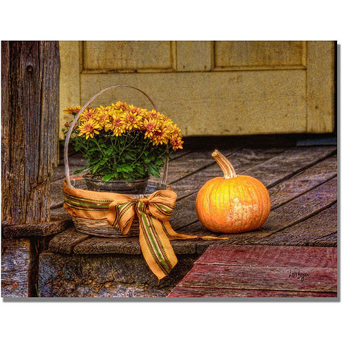 "Trademark Fine Art ""Pumpkin on the Porch"" Canvas Wall Art by Lois Bryan"