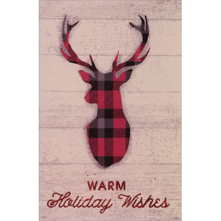American Greetings Plaid Deer Antlers Christmas Card
