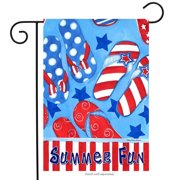 "Summer Fun Patriotic Garden Flag Flip Flops Nautical Stars 12.5"" x 18"""