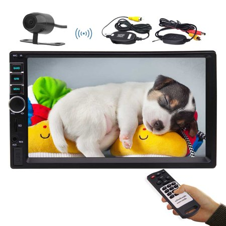 7 Inch Car Stereo MP5 Player Double Din Car Video Player with bluetooth Car Radio Audio support Steering Wheel Control Rear View Camera USB AUX IN TF Card Remote Control with Wireless Rear C