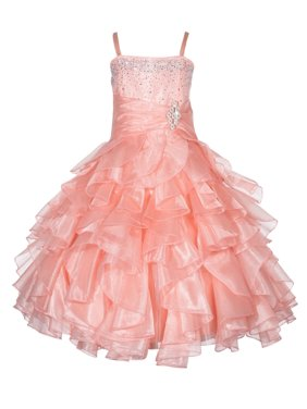 Ekidsbridal Rhinestone Organza Layers Flower Girl Dress Elegant Stunning Weddings Easter Special Occasions Pageant Toddler Birthday Party Holiday Bridal Baptism Junior Bridesmaid Communion 164S