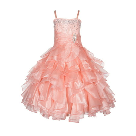 Ekidsbridal Rhinestone Organza Layers Flower Girl Dress Elegant Stunning Weddings Easter Special Occasions Pageant Toddler Birthday Party Holiday Bridal Baptism Junior Bridesmaid Communion 164S (By Special Occasions Cinderella Dresses)