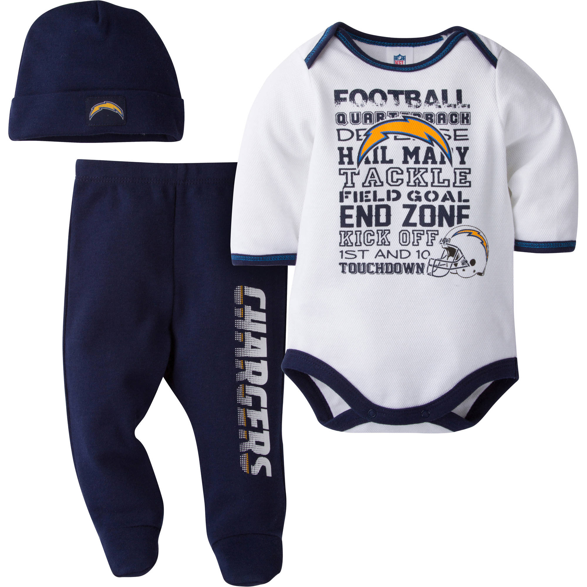 NFL San Diego Chargers Baby Boys Bodysuit, Pant and Cap Outfit Set, 3-Piece