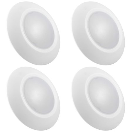 Luxrite 6 Inch LED Disk Light Dimmable, 15W, 5000K Bright White, 1000 Lumens, Surface Mount LED Ceiling Light, Wet Rated, Energy Star, ETL Listed, Low Profile Flush Mount Light Fixture (4 Pack)