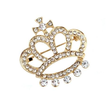 Rhinestone Queen Crown Brooch Pin, Gold, - Rhinestone Crown Pin