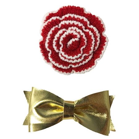 HOLIDAY COLLAR ACCESSORIES - KNIT FLOWER & METALLIC GOLD BOW TIE - Metallic Gold Bow Tie