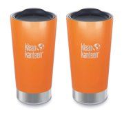 16oz Klean Kanteen Vacuum Insulated Stainless Steel Pint Cup Tumbler, canyon orange - 2 Pack