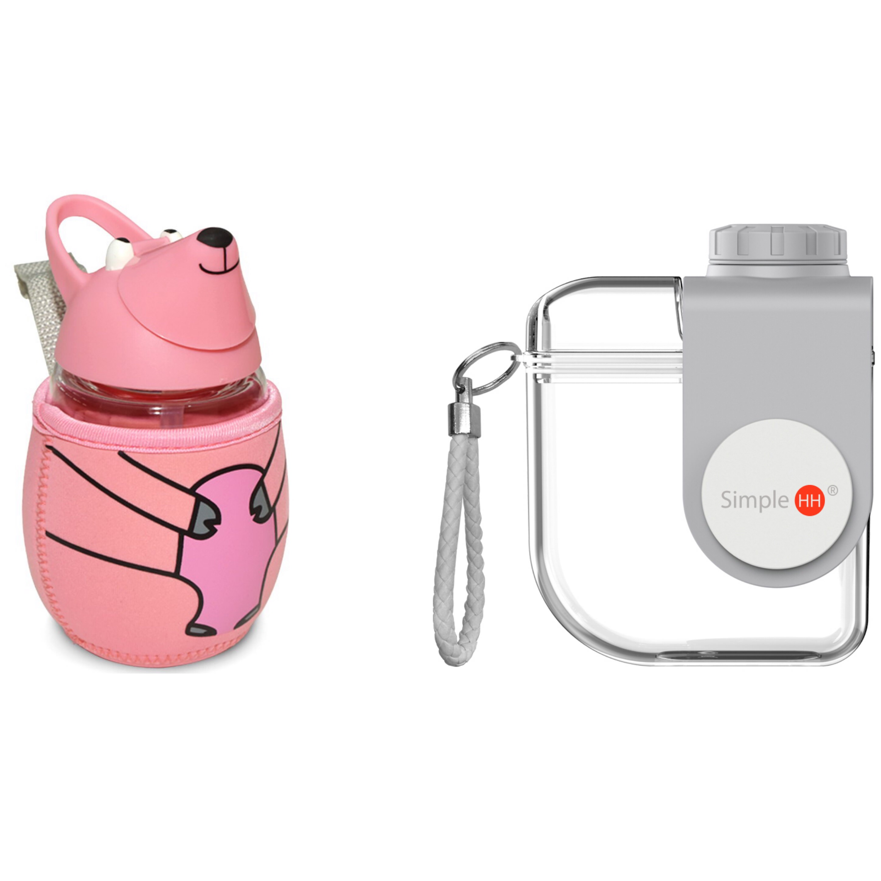 Simple HH Mouse Shaped Pink Water Bottle|Tritan Water Bottle With Straw|BPA Free Cold Drink Friendly | Go Back School|Extra Wide Mouth w/ Easy Twist Lid